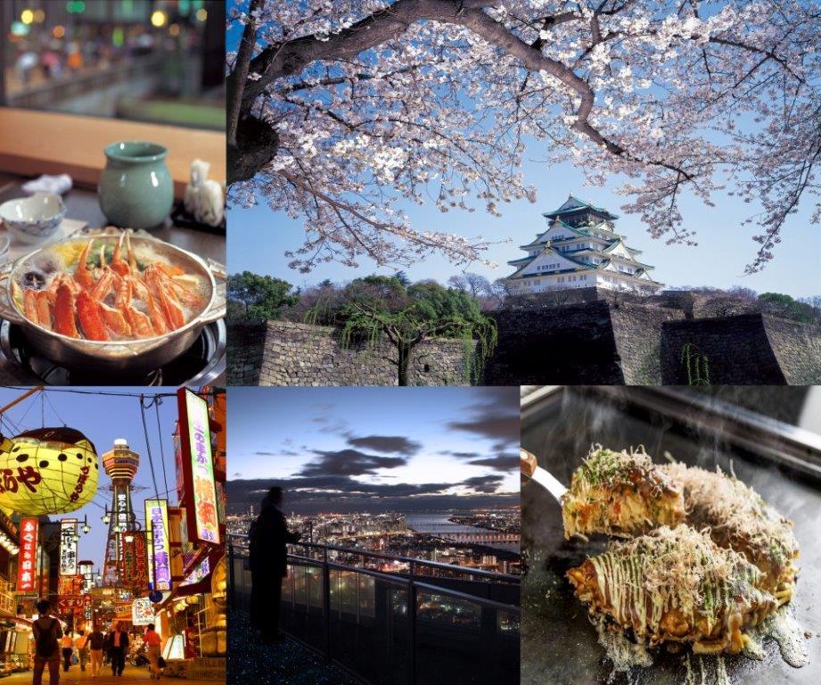 左上起,依次为蟹火锅、大阪城、通天阁和新世界、蓝天大厦空中庭院、大阪烧
